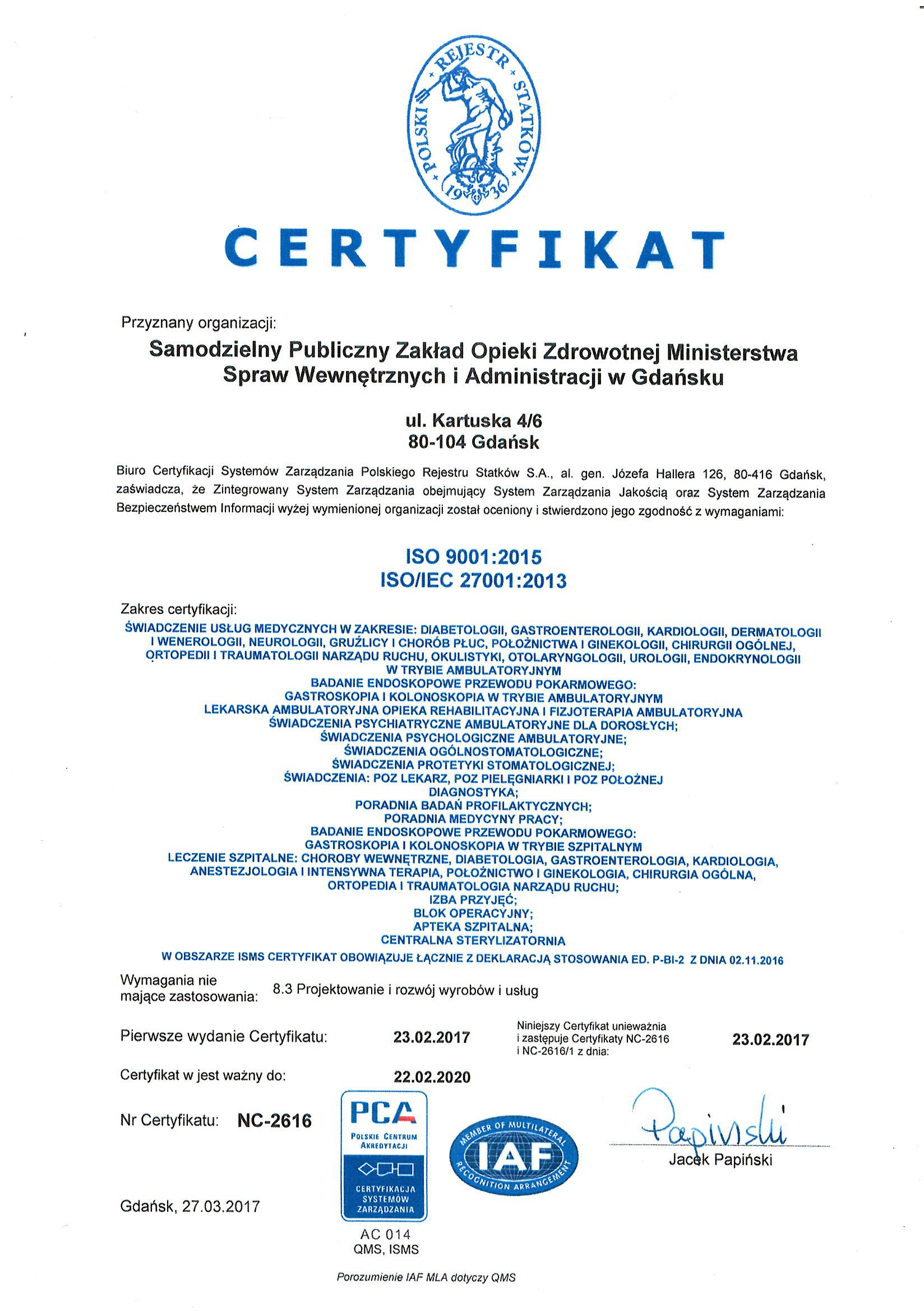 Obraz - Certyfikat ISO9001 ISO27001