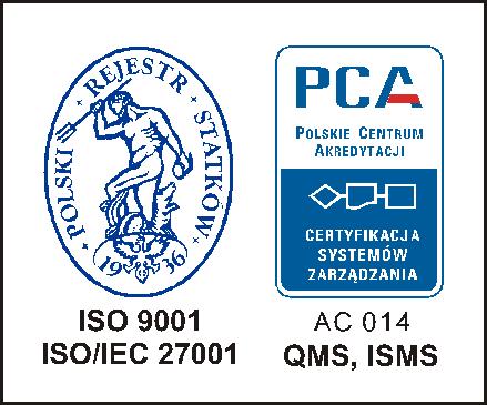CERTYFIKAT ISO 9001:2015, ISO/IEC 27001:2013